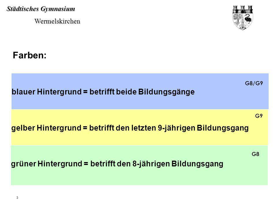 Städtisches Gymnasium Wermelskirchen Wermelskirchen 3 blauer Hintergrund = betrifft beide Bildungsgänge Farben: gelber Hintergrund = betrifft den letz