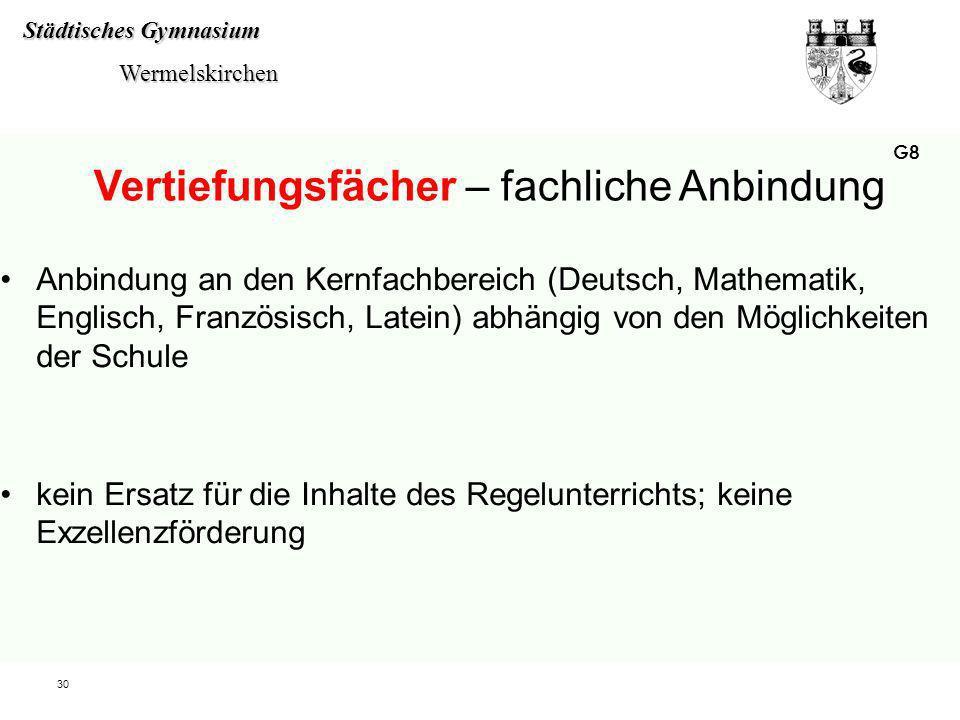 Städtisches Gymnasium Wermelskirchen Wermelskirchen 30 Anbindung an den Kernfachbereich (Deutsch, Mathematik, Englisch, Französisch, Latein) abhängig