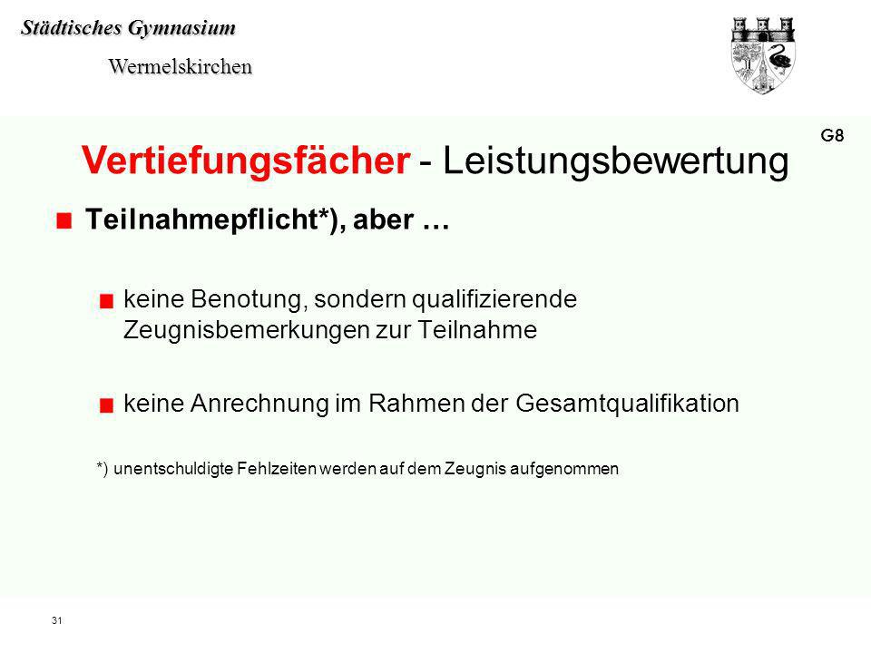 Städtisches Gymnasium Wermelskirchen Wermelskirchen 31 Vertiefungsfächer - Leistungsbewertung Teilnahmepflicht*), aber … keine Benotung, sondern quali