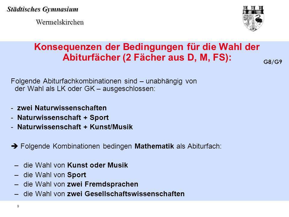 Städtisches Gymnasium Wermelskirchen Wermelskirchen 9 Konsequenzen der Bedingungen für die Wahl der Abiturfächer (2 Fächer aus D, M, FS): Folgende Abi