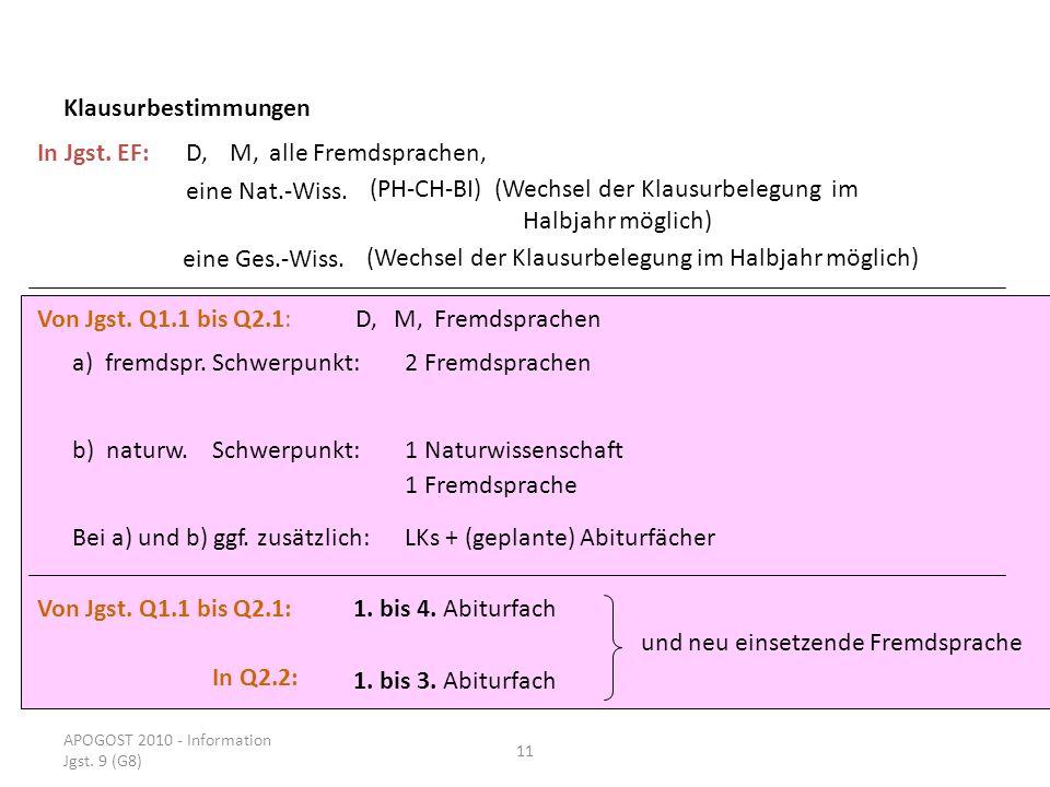 APOGOST 2010 - Information Jgst. 9 (G8) 11 Klausurbestimmungen In Jgst. EF:D,M,alle Fremdsprachen, eine Nat.-Wiss. eine Ges.-Wiss. (PH-CH-BI) (Wechsel