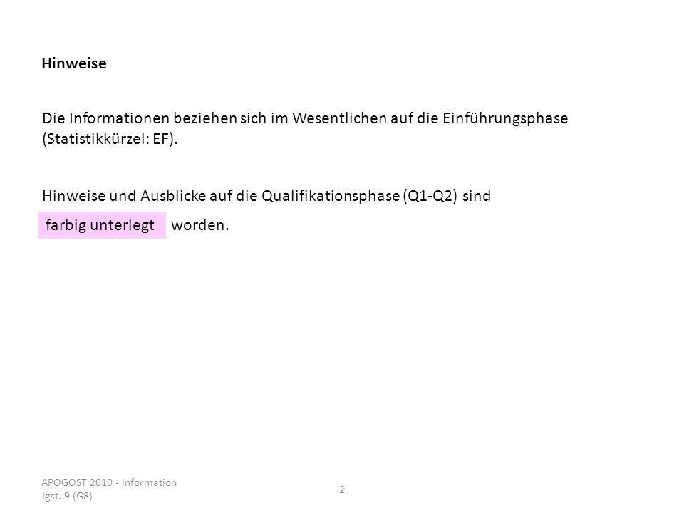 APOGOST 2010 - Information Jgst. 9 (G8) 2 Hinweise Die Informationen beziehen sich im Wesentlichen auf die Einführungsphase (Statistikkürzel: EF). Hin