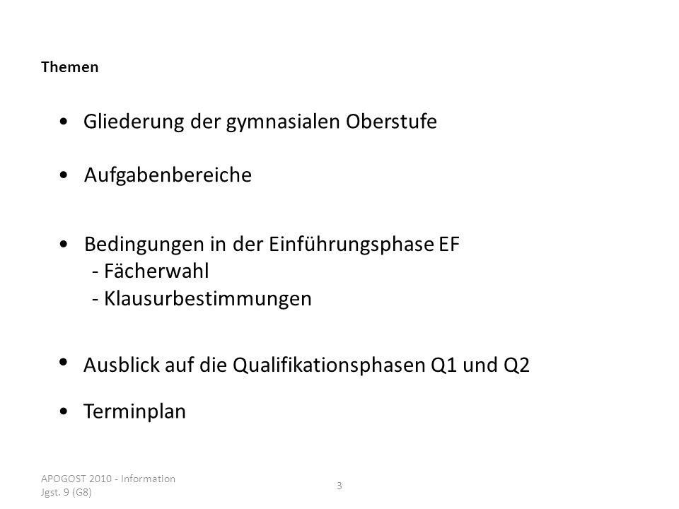 APOGOST 2010 - Information Jgst. 9 (G8) 3 Themen Gliederung der gymnasialen Oberstufe Ausblick auf die Qualifikationsphasen Q1 und Q2 Bedingungen in d