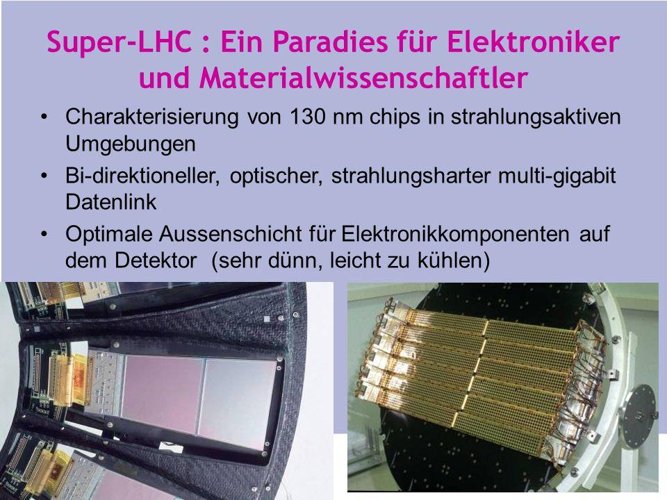 http://ert.cern.ch Super-LHC : Ein Paradies für Elektroniker und Materialwissenschaftler Charakterisierung von 130 nm chips in strahlungsaktiven Umgebungen Bi-direktioneller, optischer, strahlungsharter multi-gigabit Datenlink Optimale Aussenschicht für Elektronikkomponenten auf dem Detektor (sehr dünn, leicht zu kühlen)