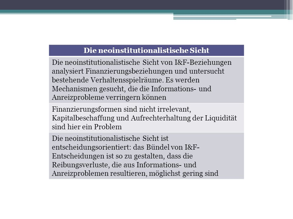 Die neoinstitutionalistische Sicht Die neoinstitutionalistische Sicht von I&F-Beziehungen analysiert Finanzierungsbeziehungen und untersucht bestehend