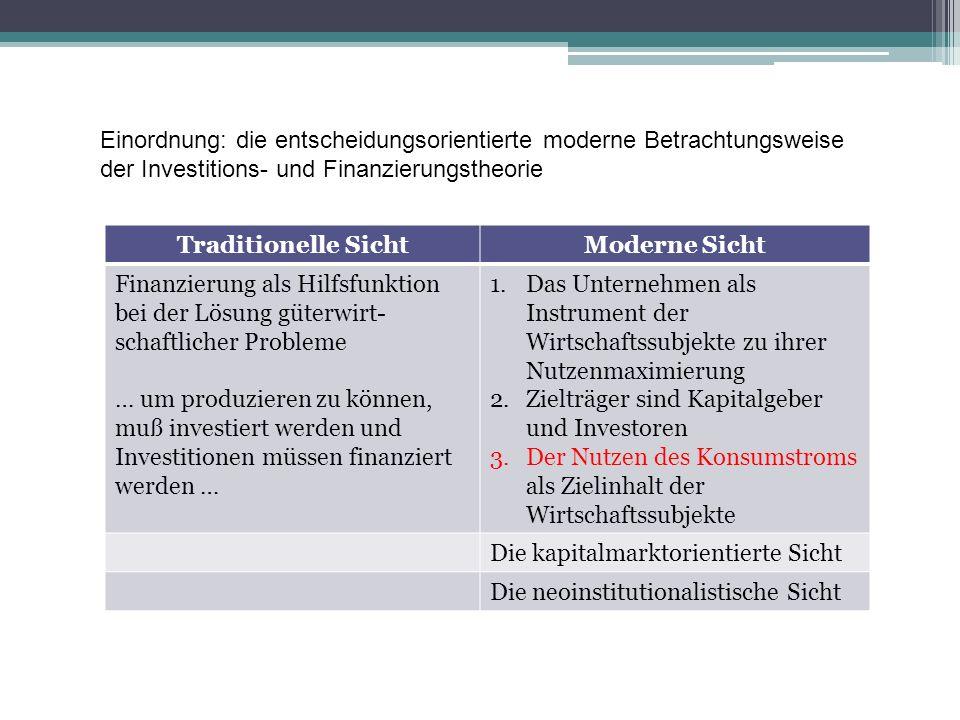 Einordnung: die entscheidungsorientierte moderne Betrachtungsweise der Investitions- und Finanzierungstheorie Traditionelle SichtModerne Sicht Finanzi
