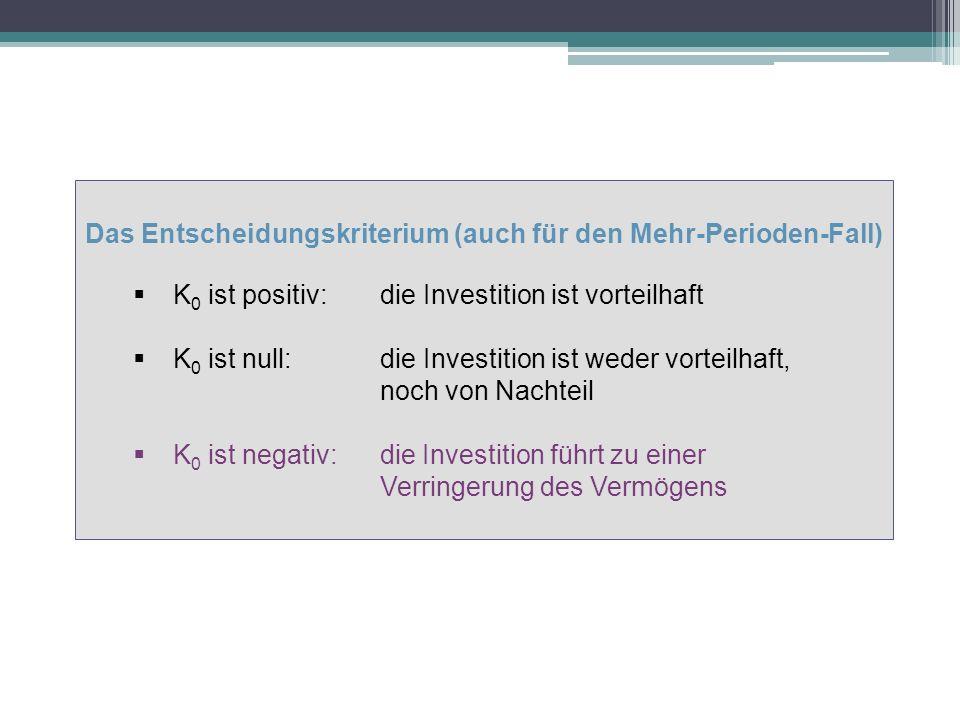 Das Entscheidungskriterium (auch für den Mehr-Perioden-Fall) K 0 ist positiv: die Investition ist vorteilhaft K 0 ist null: die Investition ist weder