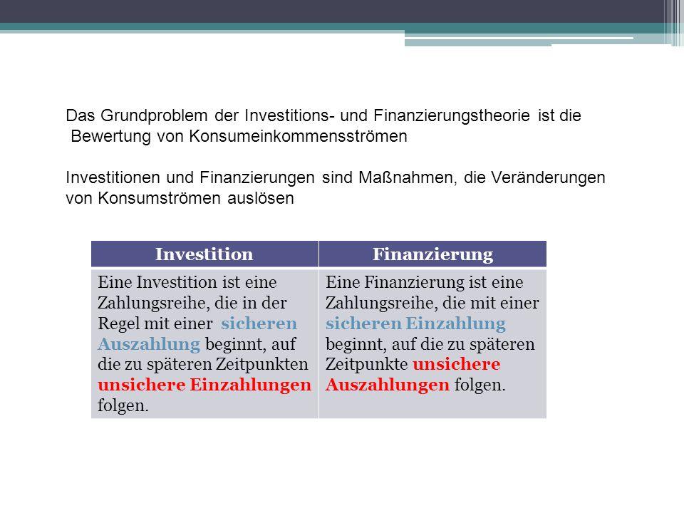 Das Grundproblem der Investitions- und Finanzierungstheorie ist die Bewertung von Konsumeinkommensströmen Investitionen und Finanzierungen sind Maßnah