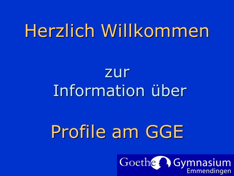 Herzlich Willkommen zur Information über Profile am GGE Um Ihr Firmenlogo auf diese Folie einzufügen: Im Menü Einfügen Wählen Sie Grafik Wählen Sie Ih