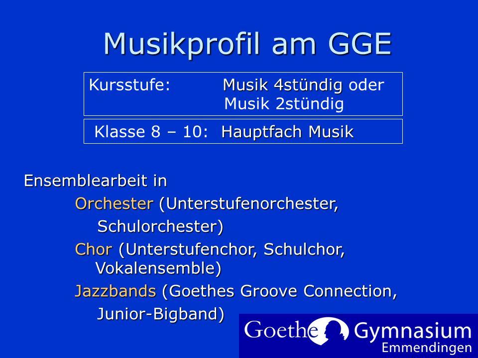 Musikprofil am GGE Musikprofil am GGE Um Ihr Firmenlogo auf diese Folie einzufügen: Im Menü Einfügen Wählen Sie Grafik Wählen Sie Ihre Logodatei Klick