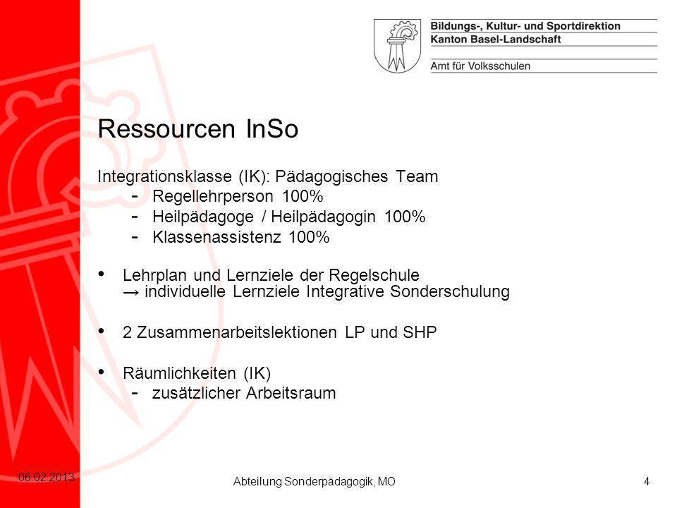 4 06.02.2013 Abteilung Sonderpädagogik, MO Integrationsklasse (IK): Pädagogisches Team - Regellehrperson 100% - Heilpädagoge / Heilpädagogin 100% - Kl