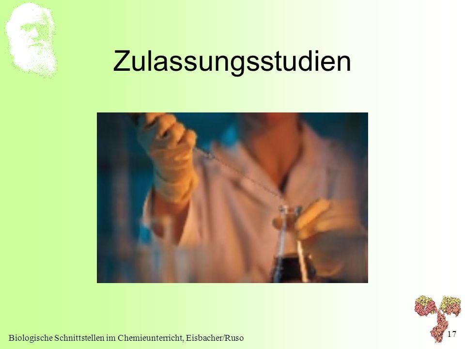 Biologische Schnittstellen im Chemieunterricht, Eisbacher/Ruso 17 Zulassungsstudien