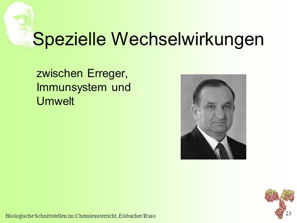 Biologische Schnittstellen im Chemieunterricht, Eisbacher/Ruso 23 Spezielle Wechselwirkungen zwischen Erreger, Immunsystem und Umwelt