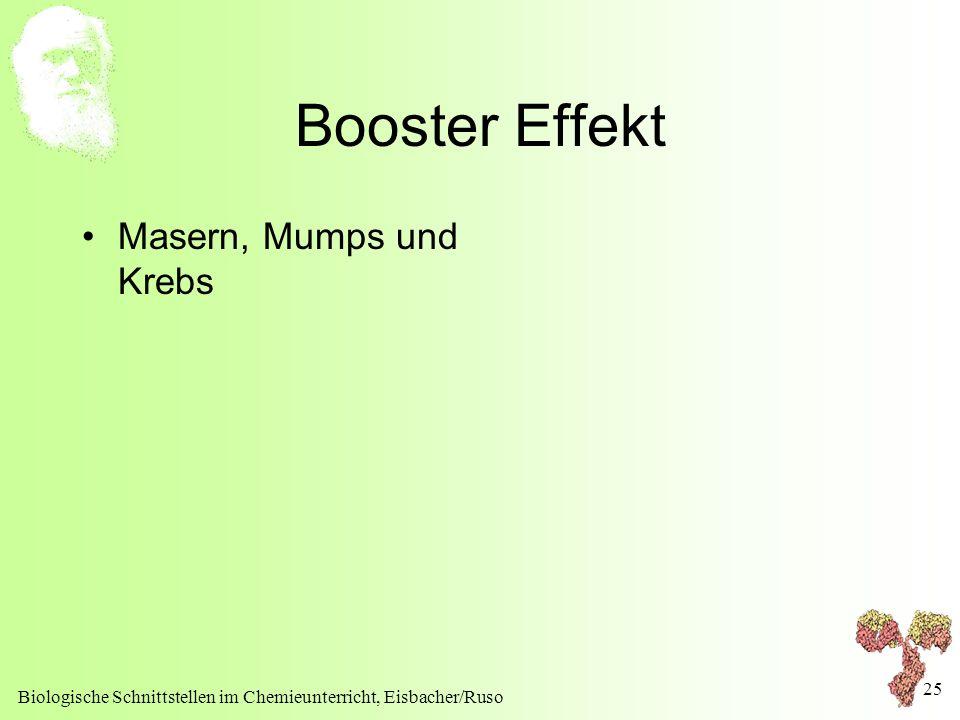 Biologische Schnittstellen im Chemieunterricht, Eisbacher/Ruso 25 Booster Effekt Masern, Mumps und Krebs