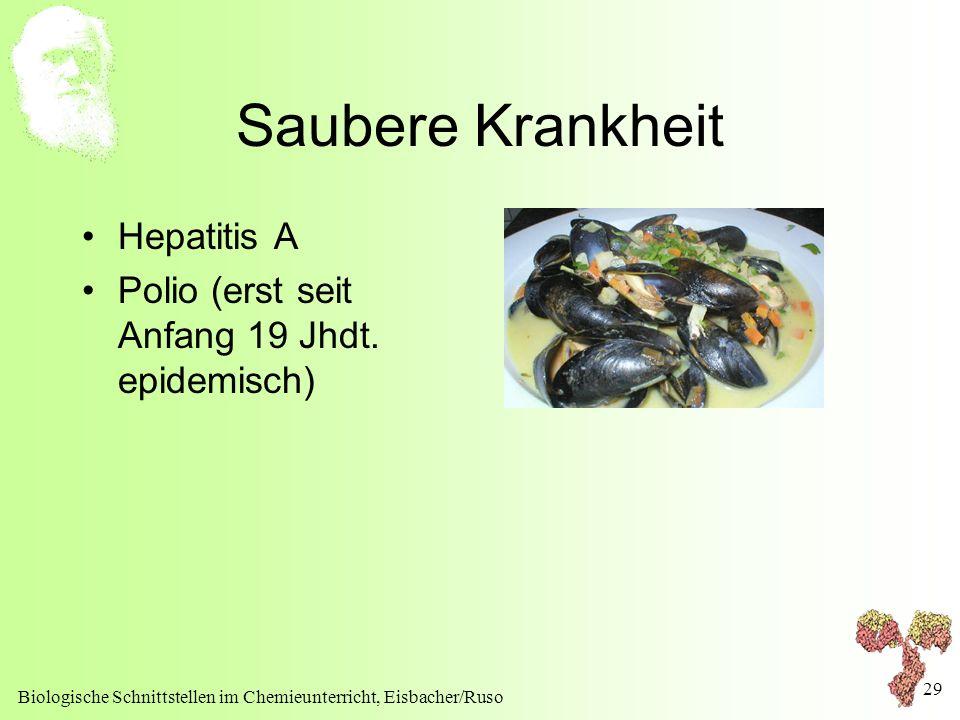 Biologische Schnittstellen im Chemieunterricht, Eisbacher/Ruso 29 Saubere Krankheit Hepatitis A Polio (erst seit Anfang 19 Jhdt. epidemisch)