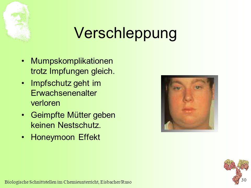 Biologische Schnittstellen im Chemieunterricht, Eisbacher/Ruso 30 Verschleppung Mumpskomplikationen trotz Impfungen gleich. Impfschutz geht im Erwachs