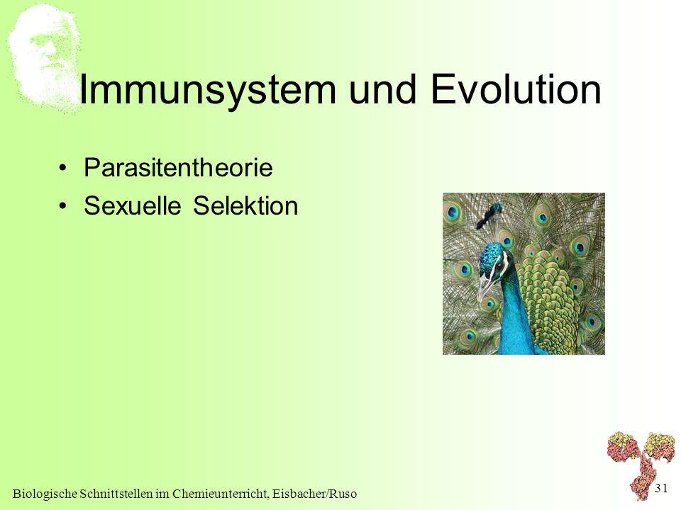 Biologische Schnittstellen im Chemieunterricht, Eisbacher/Ruso 31 Immunsystem und Evolution Parasitentheorie Sexuelle Selektion