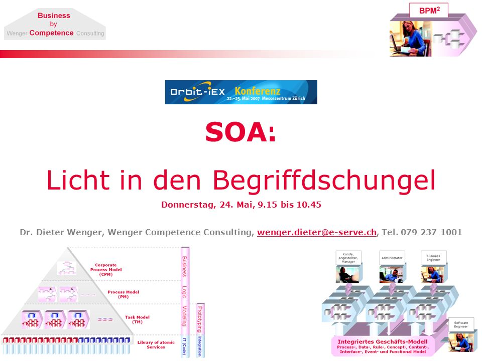 SOA: Licht in den Begriffdschungel Donnerstag, 24. Mai, 9.15 bis 10.45 Dr. Dieter Wenger, Wenger Competence Consulting, wenger.dieter@e-serve.ch, Tel.