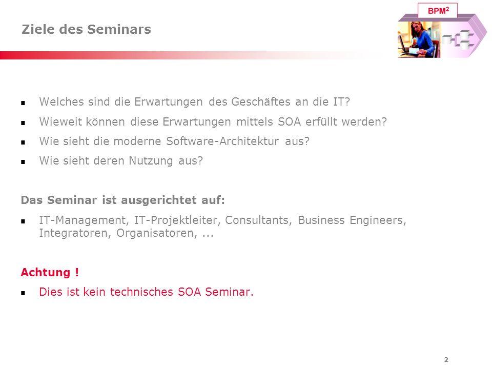 2 Ziele des Seminars Welches sind die Erwartungen des Geschäftes an die IT? Wieweit können diese Erwartungen mittels SOA erfüllt werden? Wie sieht die