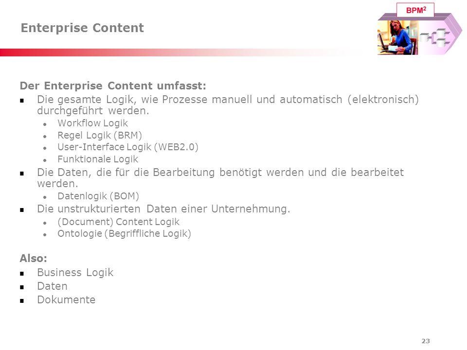 23 Enterprise Content Der Enterprise Content umfasst: Die gesamte Logik, wie Prozesse manuell und automatisch (elektronisch) durchgeführt werden. Work