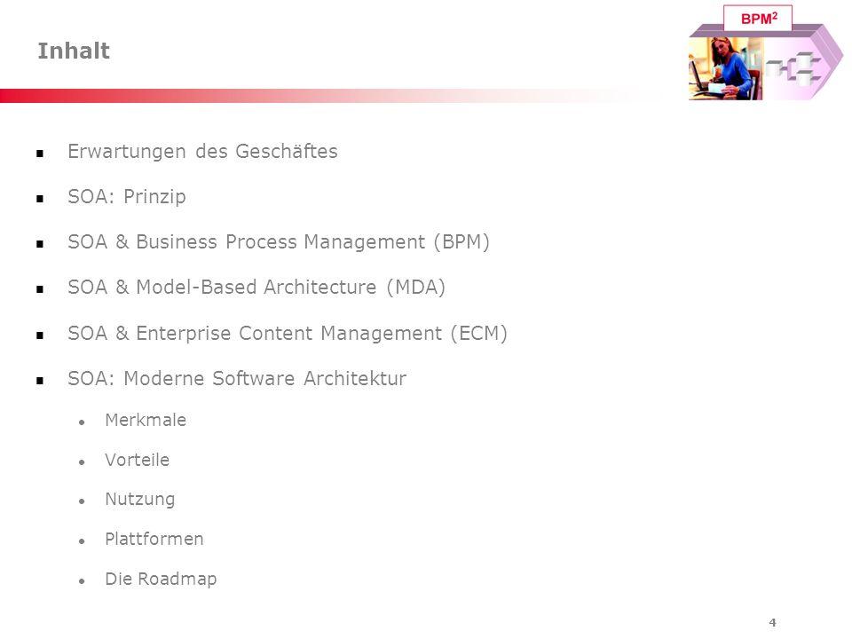 5 Inhalt Erwartungen des Geschäftes SOA: Prinzip SOA & Business Process Management (BPM) SOA & Model-Based Architecture (MDA) SOA & Enterprise Content Management (ECM) SOA: Moderne Software Architektur Merkmale Vorteile Nutzung Plattformen Die Roadmap