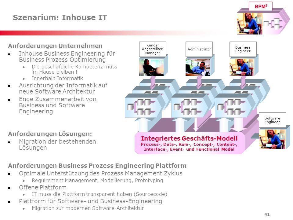 41 Szenarium: Inhouse IT Anforderungen Unternehmen Inhouse Business Engineering für Business Prozess Optimierung Die geschäftliche Kompetenz muss im H