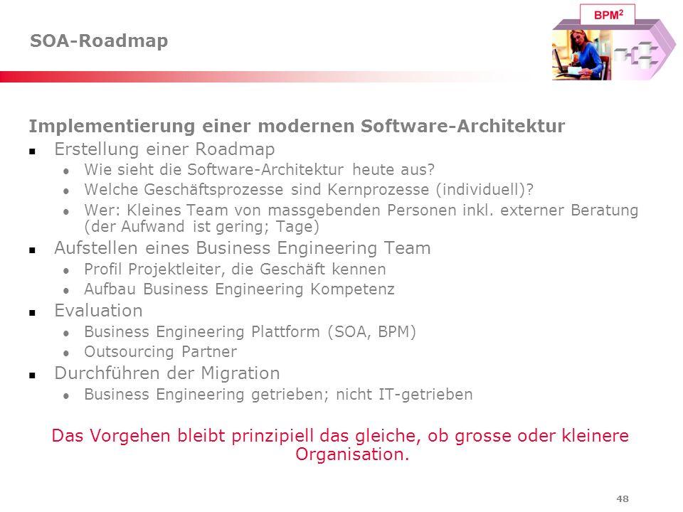 48 SOA-Roadmap Implementierung einer modernen Software-Architektur Erstellung einer Roadmap Wie sieht die Software-Architektur heute aus? Welche Gesch