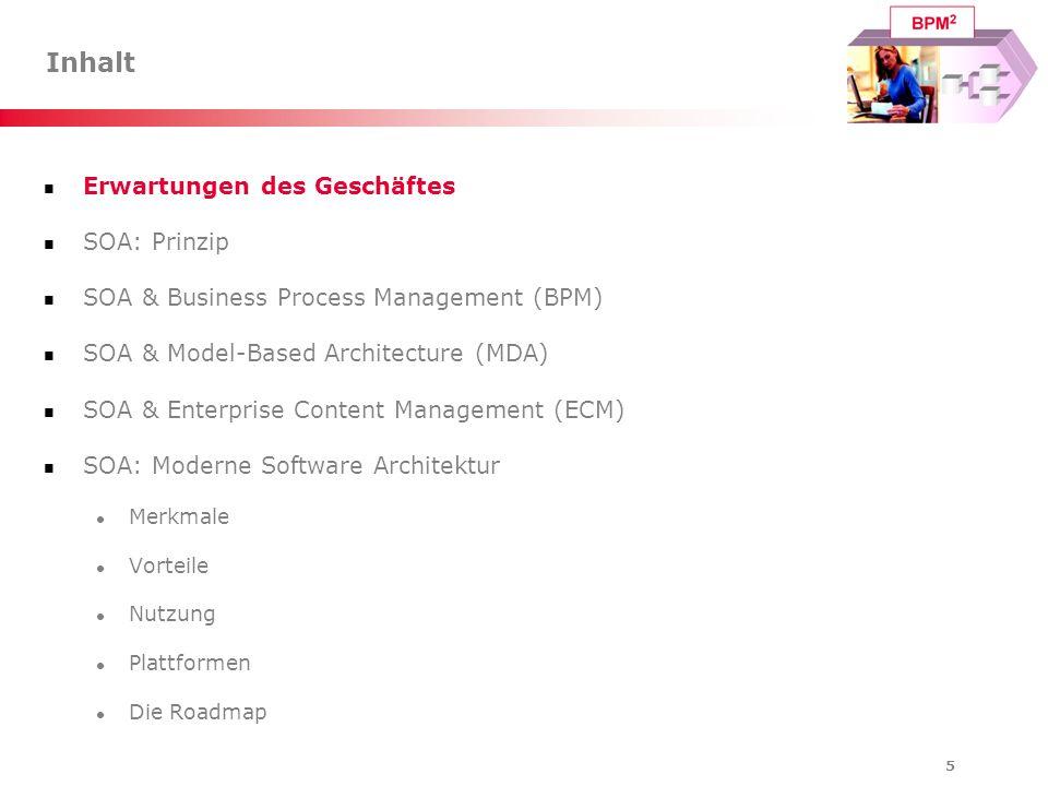 46 Inhalt Erwartungen des Geschäftes SOA: Prinzip SOA & Business Process Management (BPM) SOA & Model-Based Architecture (MDA) SOA & Enterprise Content Management (ECM) SOA: Moderne Software Architektur Merkmale Vorteile Nutzung Plattformen Die Roadmap