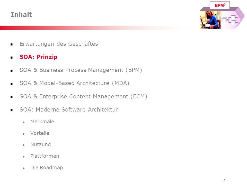 48 SOA-Roadmap Implementierung einer modernen Software-Architektur Erstellung einer Roadmap Wie sieht die Software-Architektur heute aus.