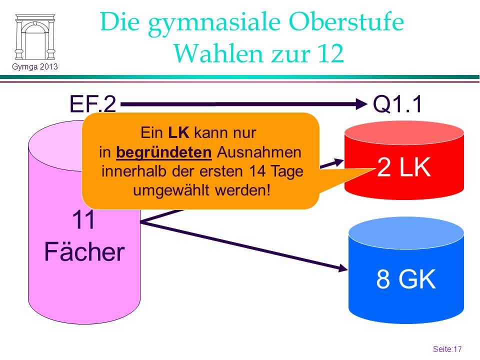 Seite:16 16 Gymga 2013 Die gymnasiale Oberstufe Versetzungsordnung 5 im Kernfachbereich (D,M,FS): Versetzung nur bei Ausgleich durch eine 3 im Kernfachbereich .