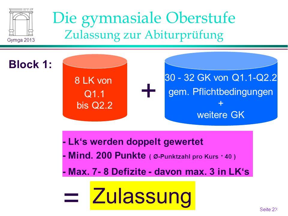 Seite:22 22 Gymga 2013 4- ist schon ein Defizit.6: Kurs gilt als nicht belegt.