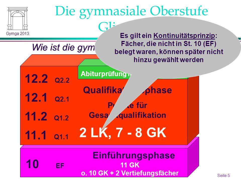 Seite:4 4 Gymga 2013 Die gymnasiale Oberstufe Organisation Was ist neu gegenüber der Sekundarstufe I.