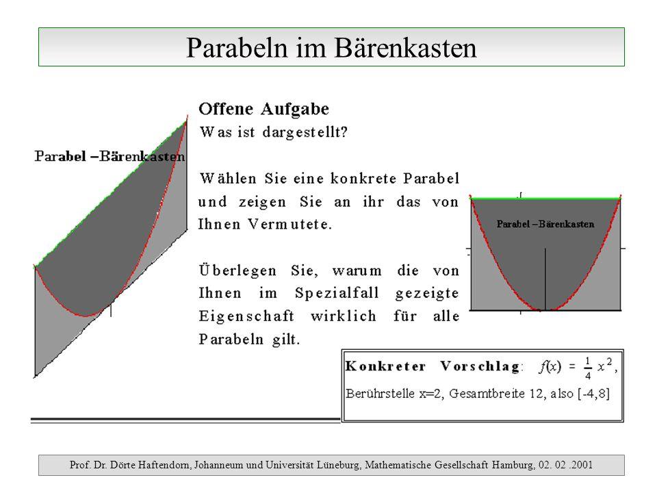 Parabeln im Bärenkasten Prof. Dr. Dörte Haftendorn, Johanneum und Universität Lüneburg, Mathematische Gesellschaft Hamburg, 02. 02.2001