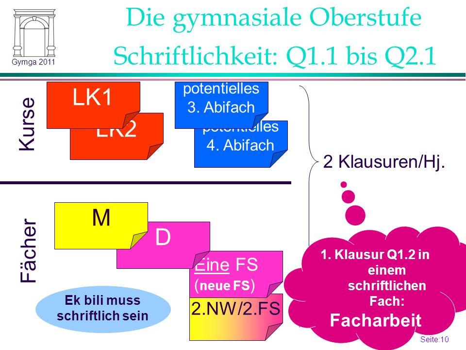 Seite:10 10 Gymga 2011 2.NW/2.FS Schriftlichkeit: Q1.1 bis Q2.1 LK2 LK1 potentielles 4. Abifach potentielles 3. Abifach Kurse Fächer 2 Klausuren/Hj. E