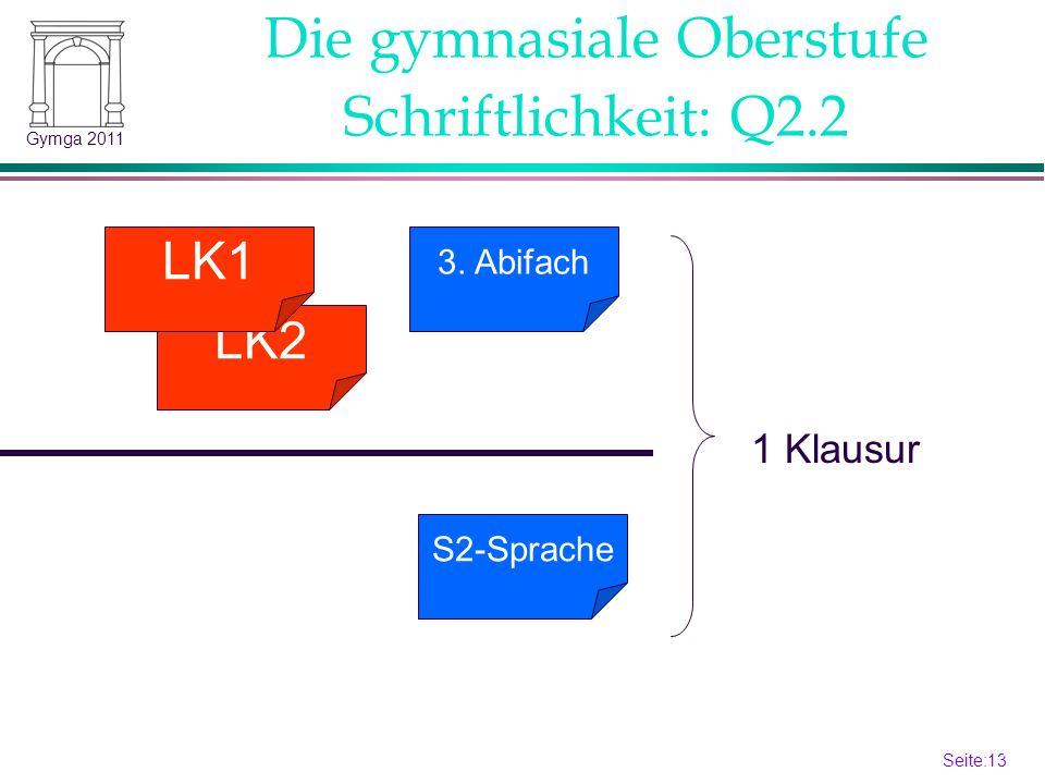 Seite:13 13 Gymga 2011 S2-Sprache Schriftlichkeit: Q2.2 LK2 LK1 3. Abifach 1 Klausur Die gymnasiale Oberstufe