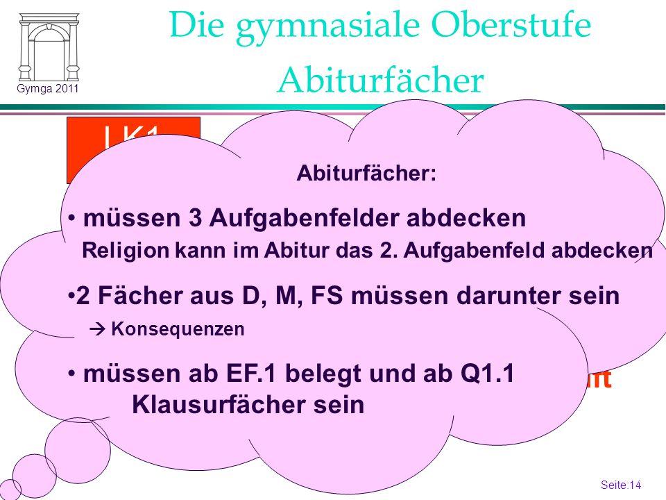 Seite:14 14 Gymga 2011 Festlegung Beginn Q1.1 (12.1) Abiturfächer LK2 LK1 Gk 4.