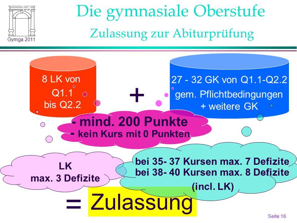 Seite:16 16 Gymga 2011 8 LK von Q1.1 bis Q2.2 27 - 32 GK von Q1.1-Q2.2 gem. Pflichtbedingungen + weitere GK Die gymnasiale Oberstufe Zulassung + = 13.