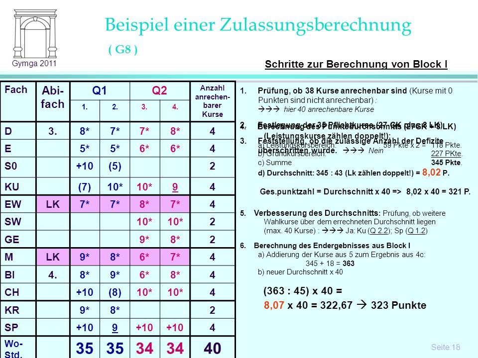 Seite:18 18 Gymga 2011 5. Verbesserung des Durchschnitts : Prüfung, ob weitere Wahlkurse über dem errechneten Durchschnitt liegen (max. 40 Kurse) : Ja