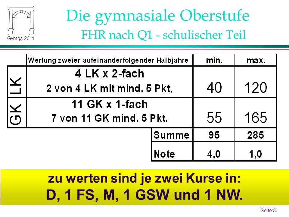 Seite:3 3 Gymga 2011 zu werten sind je zwei Kurse in: D, 1 FS, M, 1 GSW und 1 NW. Die gymnasiale Oberstufe FHR nach Q1 - schulischer Teil