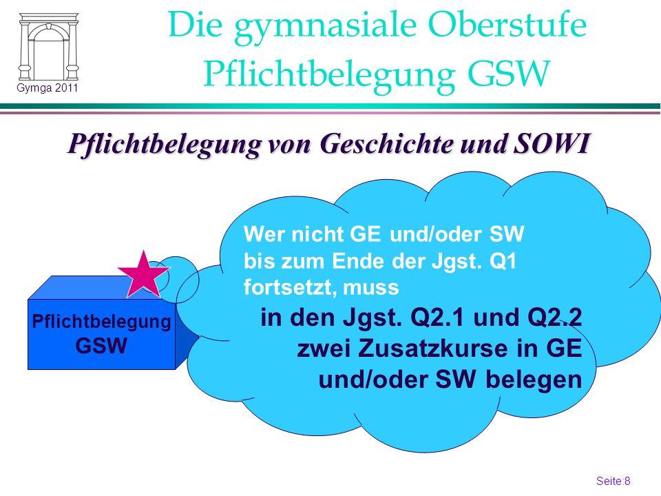 Seite:8 8 Gymga 2011 Pflichtbelegung GSW Pflichtbelegung von Geschichte und SOWI Wer nicht GE bis zum Ende der Jgst. Q1 fortsetzt, muss in den Jgst. Q
