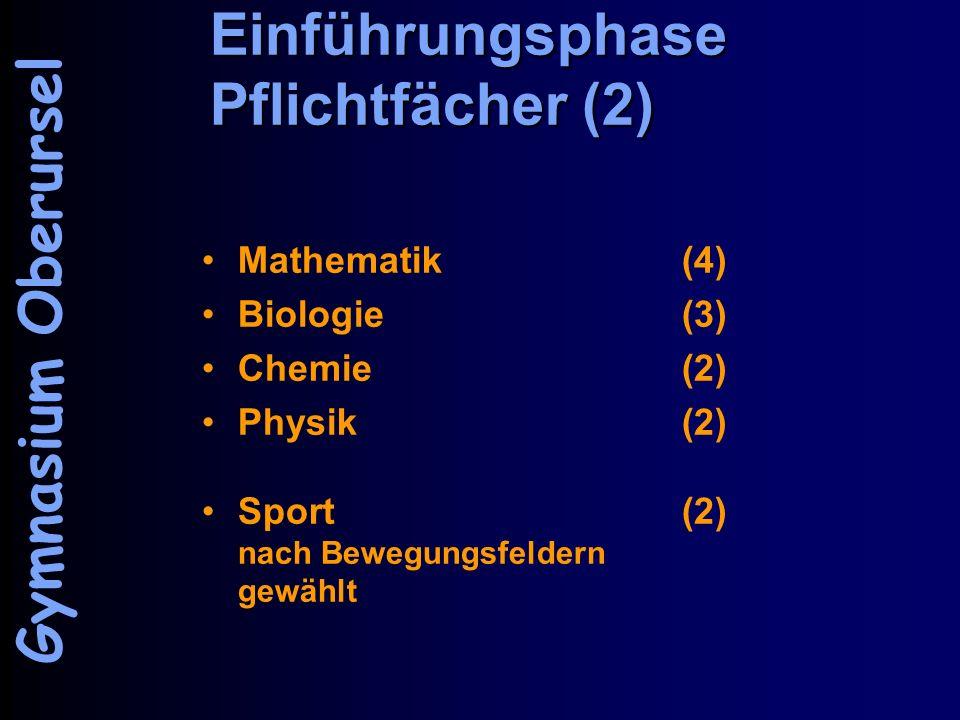Einführungsphase Pflichtfächer (2) Mathematik (4) Biologie (3) Chemie(2) Physik(2) Sport(2) nach Bewegungsfeldern gewählt Gymnasium Oberursel