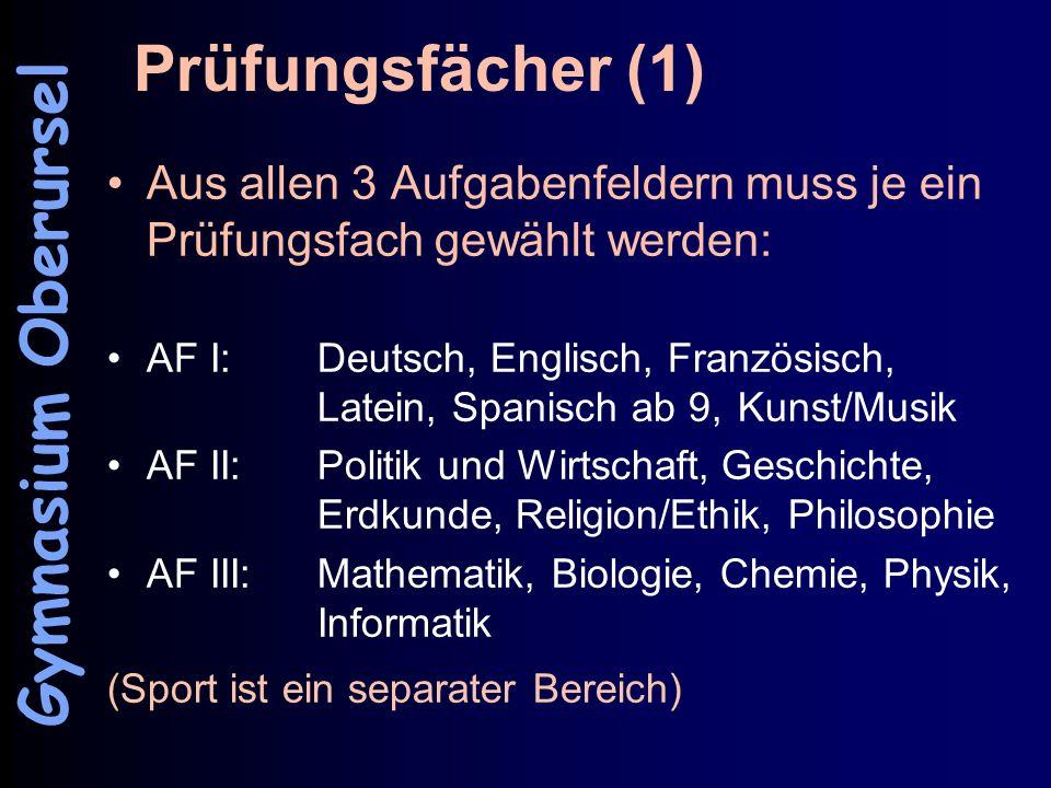 Prüfungsfächer (1) Aus allen 3 Aufgabenfeldern muss je ein Prüfungsfach gewählt werden: AF I: Deutsch, Englisch, Französisch, Latein, Spanisch ab 9, K