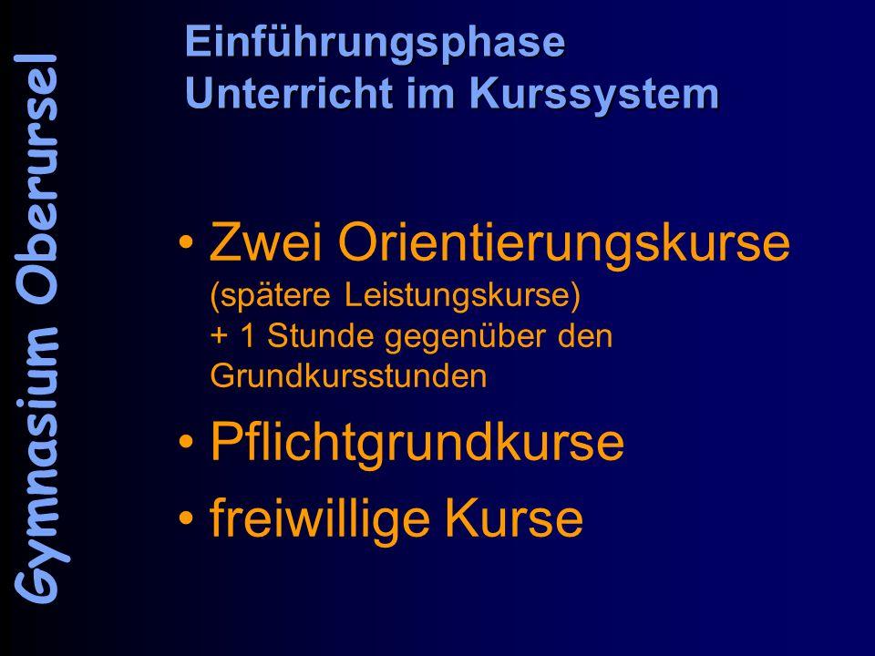 Einführungsphase Unterricht im Kurssystem Zwei Orientierungskurse (spätere Leistungskurse) + 1 Stunde gegenüber den Grundkursstunden Pflichtgrundkurse