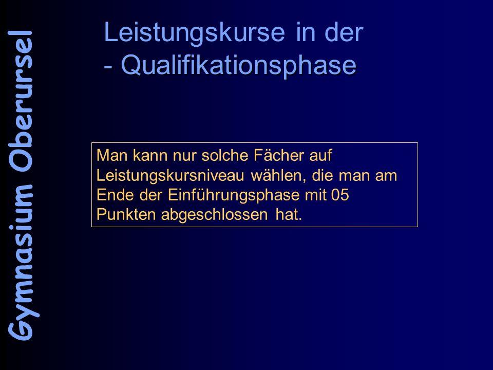 - Qualifikationsphase Leistungskurse in der - Qualifikationsphase Gymnasium Oberursel Man kann nur solche Fächer auf Leistungskursniveau wählen, die m