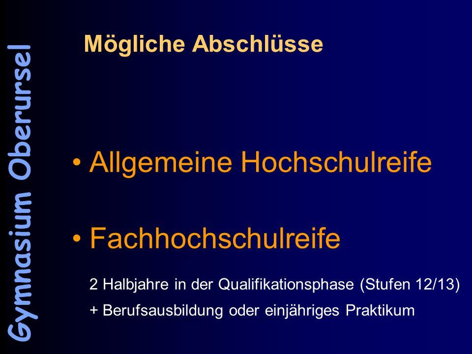 Mögliche Abschlüsse Allgemeine Hochschulreife Fachhochschulreife 2 Halbjahre in der Qualifikationsphase (Stufen 12/13) + Berufsausbildung oder einjähr