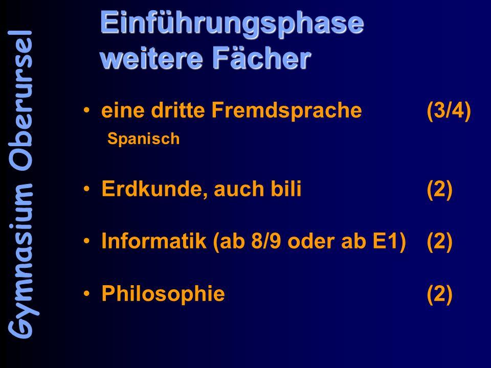 Einführungsphase weitere Fächer eine dritte Fremdsprache(3/4) Spanisch Erdkunde, auch bili(2) Informatik (ab 8/9 oder ab E1)(2) Philosophie(2) Gymnasium Oberursel