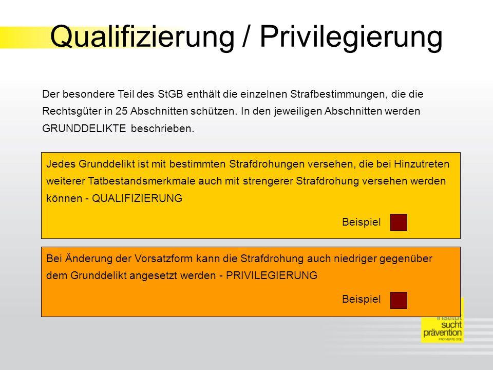 Qualifizierung / Privilegierung Der besondere Teil des StGB enthält die einzelnen Strafbestimmungen, die die Rechtsgüter in 25 Abschnitten schützen.