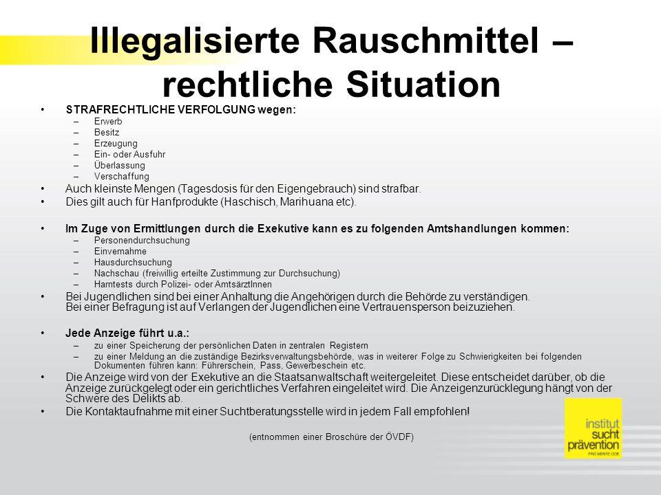 Illegalisierte Rauschmittel – rechtliche Situation STRAFRECHTLICHE VERFOLGUNG wegen: –Erwerb –Besitz –Erzeugung –Ein- oder Ausfuhr –Überlassung –Verschaffung Auch kleinste Mengen (Tagesdosis für den Eigengebrauch) sind strafbar.