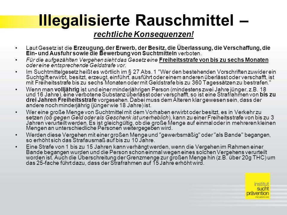 Illegalisierte Rauschmittel – rechtliche Konsequenzen.