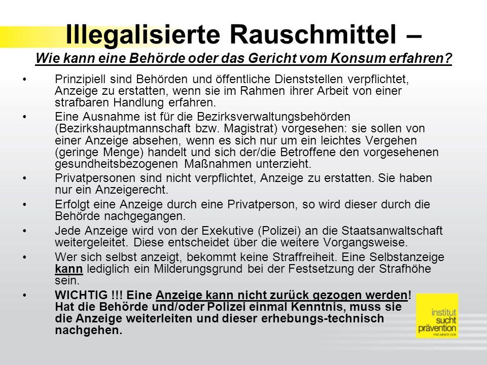 Illegalisierte Rauschmittel – Wie kann eine Behörde oder das Gericht vom Konsum erfahren.